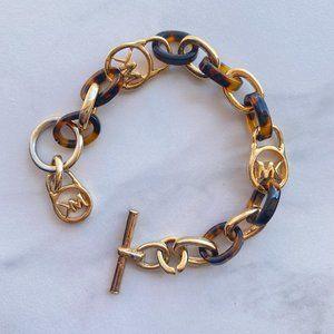 Brown Tortoise + Gold Enamel Chain Bracelet